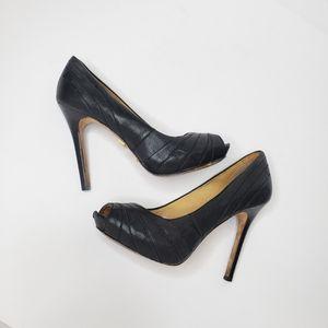 L.A.M.B. Black leather peep toe heels